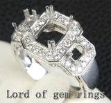 Diamond Engagement Semi Mount Ring 14K White Gold Setting Emerald Cut 6x8mm 3 stones - Lord of Gem Rings - 2