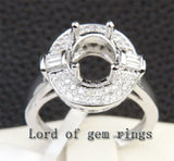 Diamond Engagement Semi Mount Ring 14K White Gold Setting Oval 7x9mm - Lord of Gem Rings - 2
