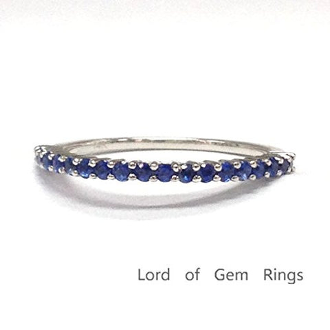 Blue Sapphire Wedding Band Half Eternity Anniversary Ring 14K White Gold,Thin Design - Lord of Gem Rings - 1