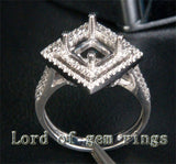 Diamond Engagement Semi Mount Ring 14K White Gold Setting Princess 7.5mm - Lord of Gem Rings - 2