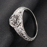Diamond Engagement Semi Mount ring 14K White Gold Setting Round 6.5mm Filigree Hand Engraved - Lord of Gem Rings - 3