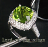 Cushion Peridot Engagement Ring Pave Diamond Wedding 14K White Gold 5.93ct - Lord of Gem Rings - 2