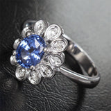 Oval Sapphire Engagement Ring Diamond Wedding 14K White Gold 4x6mm Flower - Lord of Gem Rings - 2