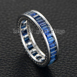 Emerald Cut Blue Sapphire Wedding Band Eternity Anniversary Ring 14K White Gold - Lord of Gem Rings - 2