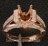 Diamond Engagement Semi Mount Ring 14K Rose Gold Setting Round 8-8.5mm - Lord of Gem Rings - 2