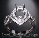 Diamond Engagement Semi Mount Ring 14K White Gold Setting Pear 7x11mm - Lord of Gem Rings - 2