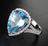 Pear Aquamarine Engagement Ring Pave Diamond Wedding 14K White Gold,9x13mm - Lord of Gem Rings - 2