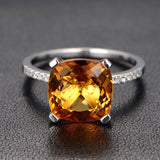 Cushion Citrine Engagement Ring Pave Diamond Wdedding 14K White Gold 9x9mm - Lord of Gem Rings - 2