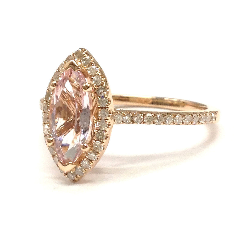 Marquise Pink Morganite Engagement Ring Pave Diamond Wedding 14K Rose Gold 5x10mm - Lord of Gem Rings - 3