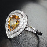 Pear Citrine Engagement Ring Pave Diamond Wedding 14K White Gold 7x9mm Double Halo - Lord of Gem Rings - 2