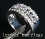 Diamond Wedding Band Half Eternity Engagement Ring 14K White Gold 6.60g 1.04ctw Center/Side - Lord of Gem Rings - 2
