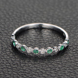 Emerald  Diamond Wedding Band Half Eternity Anniversary Ring 14K White Gold,Bezel Set - Lord of Gem Rings - 2