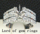VS/H Diamond Engagement Semi Mount Ring 14K White Gold Round 6-6.5mm Invisible Set - Lord of Gem Rings - 2