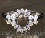 Diamond Engagement Semi Mount Ring 14K White Gold Setting Oval 6x8mm Channel - Lord of Gem Rings - 2