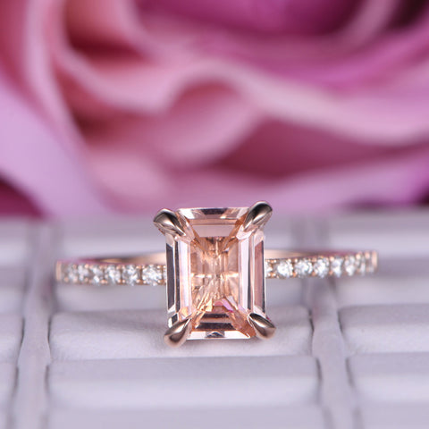 Emerald Cut Morganite Ring Pave Diamond Shank 14K Rose Gold 6x8mm