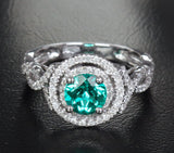 Round Emerald Engagement Ring Pave Diamond Wedding 14k White Gold 6.6mm Double Halo - Lord of Gem Rings - 2