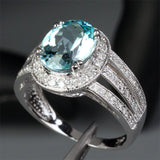 Oval Aquamarine Engagement Ring Pave Diamond Wedding 14K White Gold,8x10mm - Lord of Gem Rings - 2
