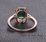 Emerald Shape Emerald Engagement Ring Pave Diamond Wedding 14K Rose Gold 6x8mm - Lord of Gem Rings - 2