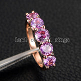 Round Pink Sapphire Wedding Band Anniversary Ring 14K Rose Gold 5 stones - Lord of Gem Rings - 2