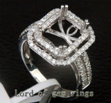 Diamond Engagement Semi Mount Ring 14K White Gold Setting Emerald Cut 8x10mm - Lord of Gem Rings - 2