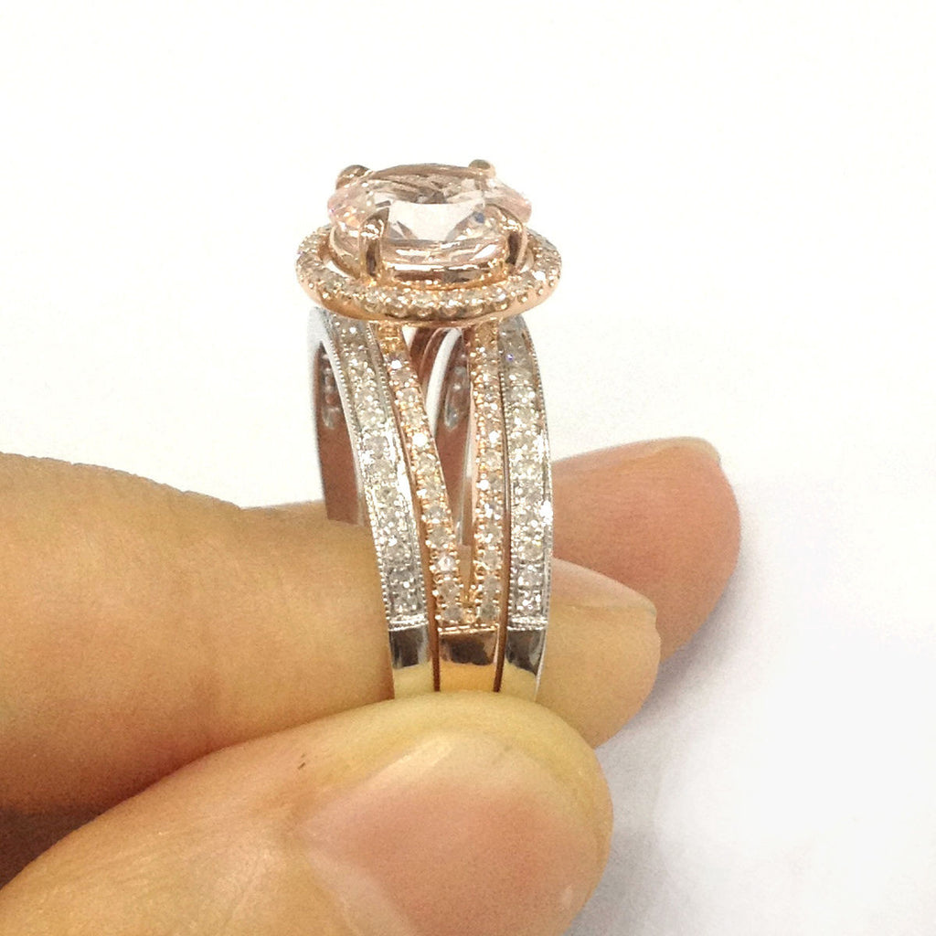 Round Morganite Engagement Ring Trio Sets Pave Diamond Wedding 14K Two-Tone Gold 9mm - Lord of Gem Rings - 3