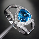 Trillion Blue Topaz Engagement Ring Diamond Wedding 14K White Gold 8mm - Lord of Gem Rings - 2