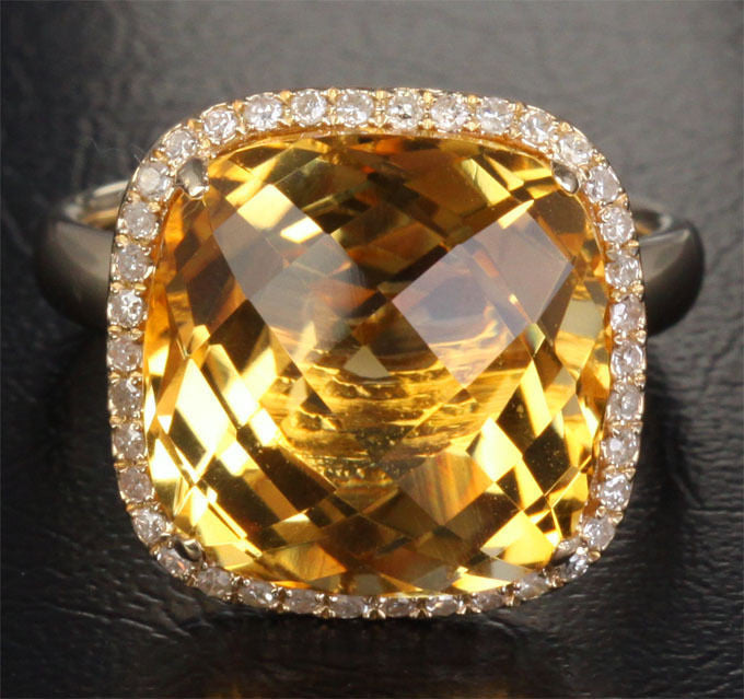 Cushion Citrine Engagement Ring Pave Diamond Wedding 14k yellow gold - Lord of Gem Rings - 1