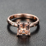 Princess Morganite Engagement Ring Moissanite 14K Rose Gold 6.5mm - Lord of Gem Rings - 2