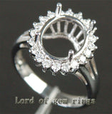 Diamond Engagement Semi Mount Ring 14K White Gold Setting Oval 8x10mm - Lord of Gem Rings - 2