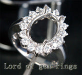 HEAVY! 9x12mm Oval Cut Flower Halo 1.35ctw Diamonds Semi Mount Settings in 14K White Gold - Lord of Gem Rings - 2