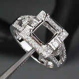 Diamond Engagement Semi Mount Ring 14K White Gold Setting Princess 7mm - Lord of Gem Rings - 2