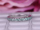 Green Alexandrite Wedding Band Milgrain Half Eternity Anniversary Ring 14K White Gold