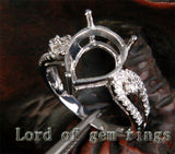Diamond Engagement Semi Mount Ring 14K White Gold Setting Pear 10x12mm - Lord of Gem Rings - 2
