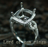 Diamond Engagement Semi Mount Ring 14K White Gold Setting Cushion 10mm - Lord of Gem Rings - 2