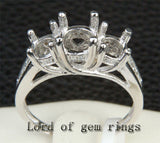 Diamond Engagement Semi Mount Ring 14K White Gold Setting Round 6.5mm/5mm Three Stones - Lord of Gem Rings - 2