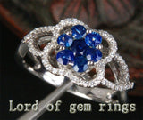 Round Sapphire Engagement Ring Pave Diamond Wedding 14K White gold .85ct - Lord of Gem Rings - 2