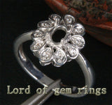 Flower 4x6mm Oval Cut 14K White Gold Diamonds Engagement Wedding Semi Mount Ring - Lord of Gem Rings - 2