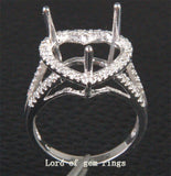 Diamond Engagement Semi Mount Ring 14K White Gold Setting Heart Shaped 10mm - Lord of Gem Rings - 2