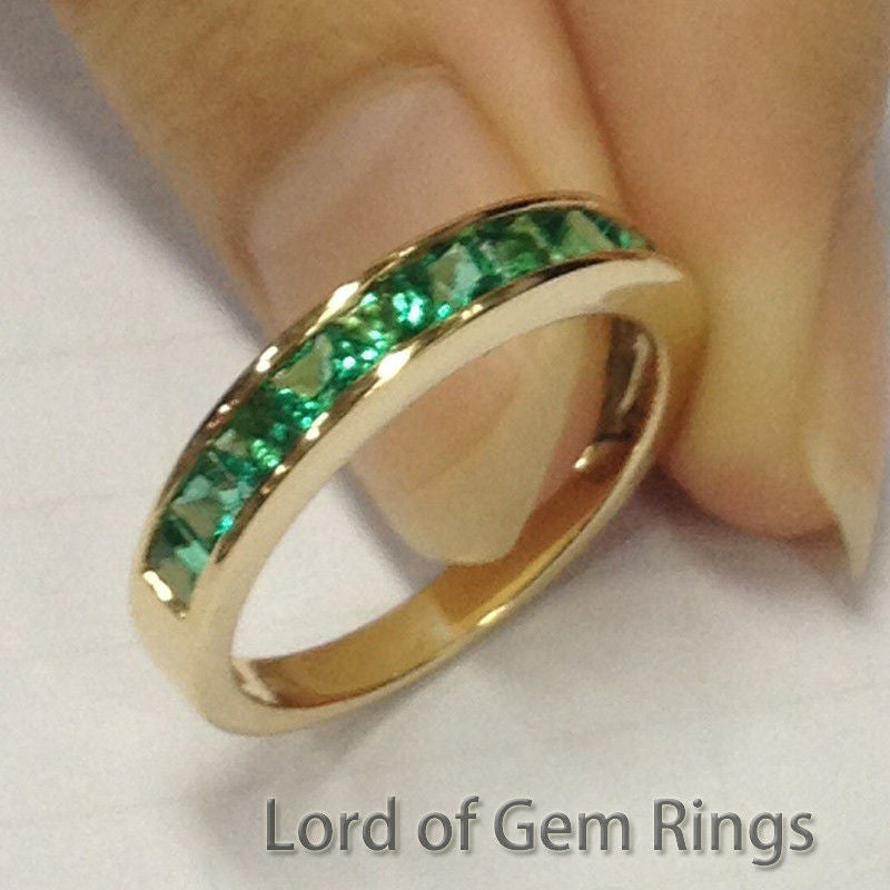 co stone diamond wedding white gabriel emerald rings cut gold bands band anniversary