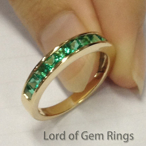 Princess Emerald Wedding Band Half Eternity Anniversary Ring 14K Yellow Gold  Channel-Set - Lord of Gem Rings - 1