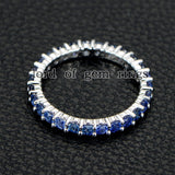 Blue Sapphire Wedding Band Eternity Anniversary Ring 14K White Gold - Lord of Gem Rings - 2