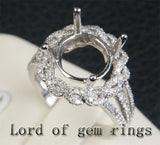 Flower 10mm Round Cut 14K White Gold .49ctw Diamonds Semi Mount Engagement Ring - Lord of Gem Rings - 2