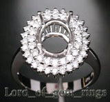 Flower 8x10mm Oval 14K White Gold .85CT Diamonds Halo Engagement Semi Mount Ring - Lord of Gem Rings - 2