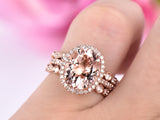 Oval Morganite Ring Trio Bridal Sets Art Deco Diamond Band 14K Rose Gold 9x11mm