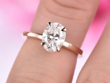 Oval Moissanite Engagement Ring 14K Rose Gold 6x8mm