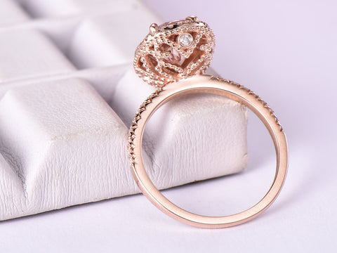 Oval Morganite Engagement Ring Diamond Wedding Band 14K Rose Gold 7x9mm