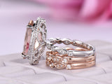 Oval Morganite Ring Trio Bridal Sets Diamond Art Deco Band 14K Two Tone Gold 10x14mm