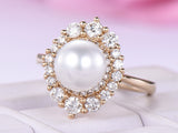 Round Pearl Ring Graduated Diamond Double Halo 14K Yellow Gold 6.5mm