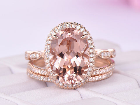 Oval Morganite Ring Trio Bridal Sets Milgrain Under-Gallery 14K Rose Gold 10x14mm