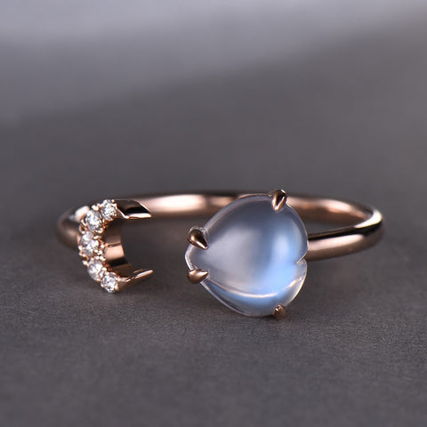 Heart Moonstone Accompanied Diamond Crescent Ring 14k Rose Gold 7mm
